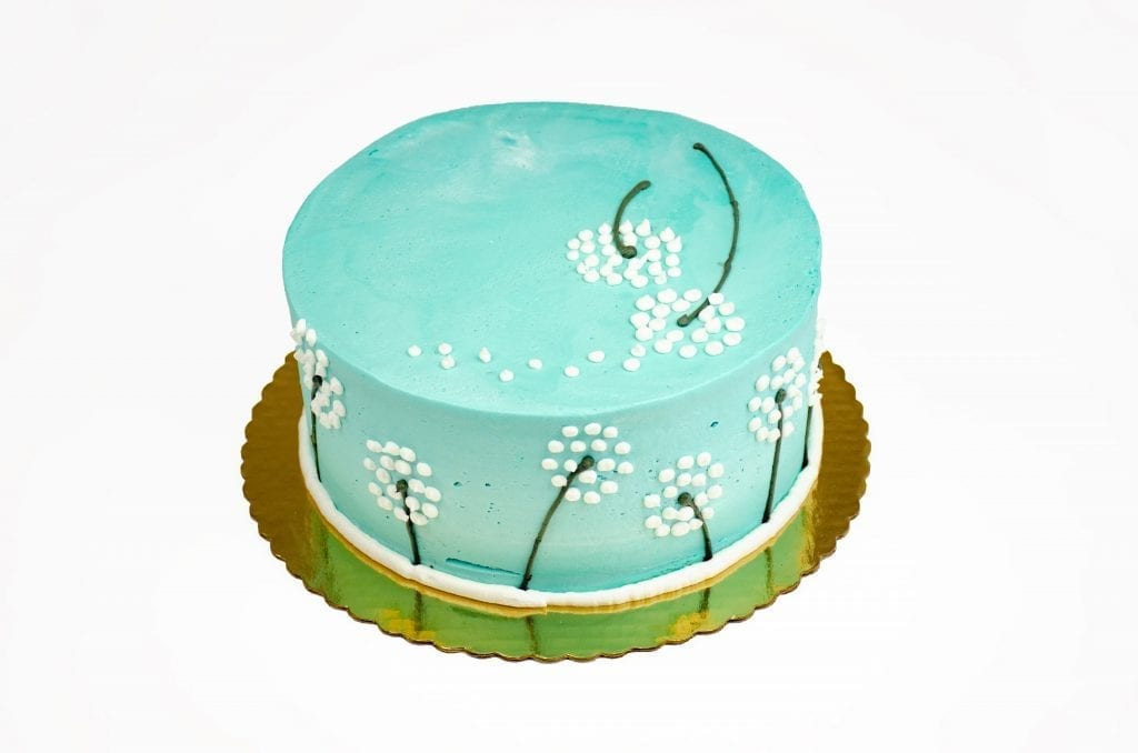 blue cake with Dandelions